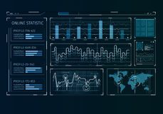 Human user display. Futuristic user interface with business infographs and icons Stock Image
