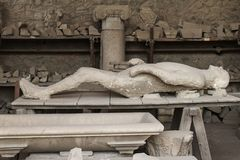 Human victim body cast from Pompeii Royalty Free Stock Photo