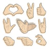 Collection of vintage hand sticker. Human vintage hand drawing with pointing finger, peace sign, love gesture, vulcan salute and thumb up, like good quality in Stock Photography