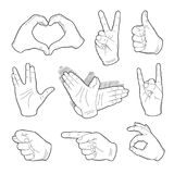 Human vintage hand drawing with pointing finger, peace sign, love gesture, vulcan salute and thumb up, like good quality. Set of vintage hands sticker in Royalty Free Stock Photos