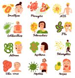 Human Viruses Flat Icons Collection. Human viruses and associated pathologie 12 flat icons collection with flu aids meningitis hepatitis isolated vector Stock Photo