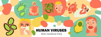Human Viruses Hand Drawn Illustration vector illustration