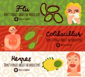 Human Viruses Banners Set. Human viruses horizontal banners set with herpes symbols flat isolated vector illustration Stock Photos
