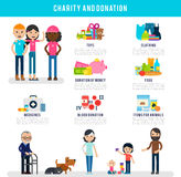 Human Volunteers Flat Infographic Template. With different types of donation and help vector illustration Stock Images
