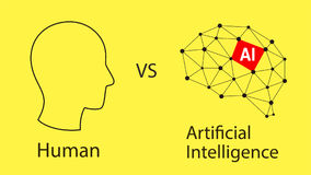 Human vs artifical intelligence concept,  vector illustration Royalty Free Stock Photos