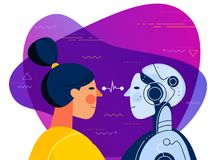 Human vs artificial intelligence concept trendy illustration. The female human and female robot with artificial intelligence looking at each other. Trendy bright royalty free illustration