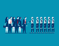Human vs robot,Business people standing with robot. Concept busin Stock Photography
