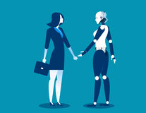 Human vs robot,Businesswoman standing with robot. Concept business automation future illustration. Vector cartoon character and ab. Stract Royalty Free Stock Photos