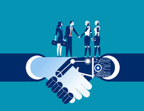 Human vs robot shake hand. Concept business automation illustrat Stock Images