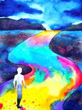 Human walking in rainbow road abstract watercolor painting. Illustration design hand drawn stock illustration