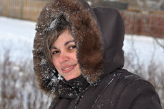 Portrait of a Latin Woman in Winter Royalty Free Stock Images