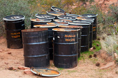 Human Waste Barrels Royalty Free Stock Photography