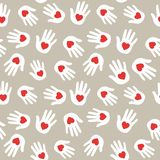 Hands with hearts. Seamless pattern. Vector background. vector illustration