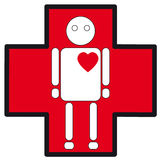 Human white silhouette medical icon of heart failure on the cross Royalty Free Stock Photo