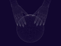 Human wireframe hands with sphere on dark background. 3D image royalty free illustration