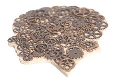 Human Wood Head with Gears Stock Images