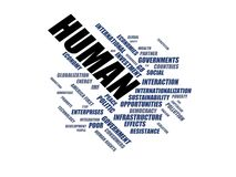 HUMAN - word cloud wordcloud - terms from the globalization, economy and policy environment Stock Image