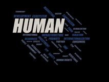 Human - word cloud wordcloud - terms from the globalization, economy and policy environment. Wordcloud with series of terms from the globalization, economy and Stock Images
