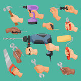 Human worker hands holding construction repair instrument tools vector cartoon style Stock Image