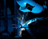Human working of welding Royalty Free Stock Photos