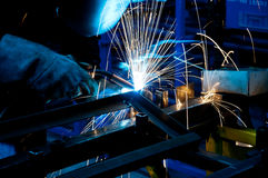 Human working of welding Royalty Free Stock Images