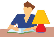 Human writing a book. Human writing in a book, table with a table lamp Royalty Free Stock Photos