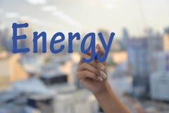 Human writing Energy wording Stock Images