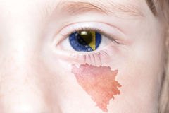 Human& x27; 与波斯尼亚黑塞哥维那的国旗和地图的s面孔 库存图片