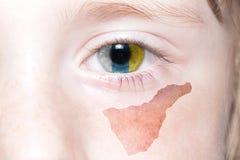 Human& x27; 与特内里费岛国旗和地图的s面孔  图库摄影