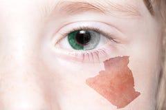 Human& x27; 与阿尔及利亚的国旗和地图的s面孔 免版税库存照片