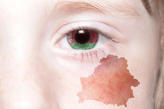 Human& x27;s face with national flag and map of belarus. Royalty Free Stock Images