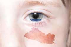 Human& x27;s face with national flag and map of el salvador. Stock Images
