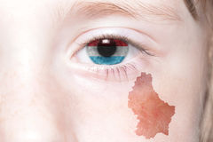 Human& x27;s face with national flag and map of luxembourg. Stock Photography