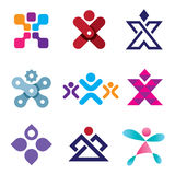 Human X shape latter creativity design icon set Stock Photo