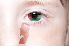 Human& x27 ; visage de s avec le drapeau national et la carte de la Palestine Image stock