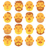 16 Human yellow faces with different hairstyle and beard;. Portrait of a old man royalty free illustration