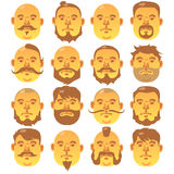16 Human yellow faces with different hairstyle and beard. Portrait of a old man Royalty Free Stock Photos