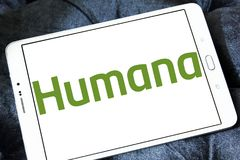 Humana health insurance company logo. Logo of Humana company on samsung tablet . Humana Inc. is a for-profit American health insurance company royalty free stock photo