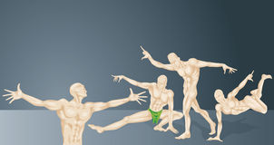 HumanAnathomy. Human Anatomical Drawing in Different Positions Royalty Free Illustration