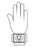 Humand hand wearing square watch with media icon,  graphic Stock Photos
