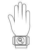 Humand hand wearing square watch with media icon,  graphic Royalty Free Stock Photos