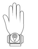 Humand hand wearing square watch with media icon,  graphic Royalty Free Stock Photo