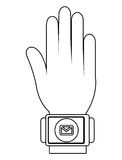 humand hand wearing square watch with media icon,  graphic Stock Image