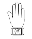 humand hand wearing square watch with media icon,  graphic Stock Photography