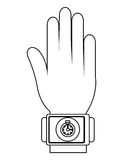 humand hand wearing square watch with media icon,  graphic Stock Images