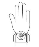 Humand hand wearing square watch with media icon,  graphic Royalty Free Stock Images