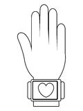 humand hand wearing square watch with media icon,  graphic Stock Photo