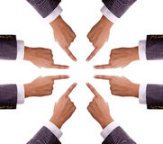 Humand hands pointing to center Royalty Free Stock Photo