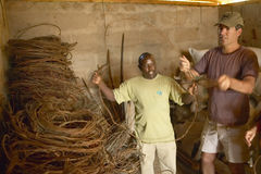 Humane society Chief Executive Officer, Wayne Pacelle, reviewing animal snares at David Sheldrick Wildlife Trust in Tsavo national Royalty Free Stock Photo