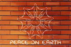 Humanidad que lleva a cabo las manos alrededor del planeta, concepto de paz en la tierra Fotos de archivo libres de regalías